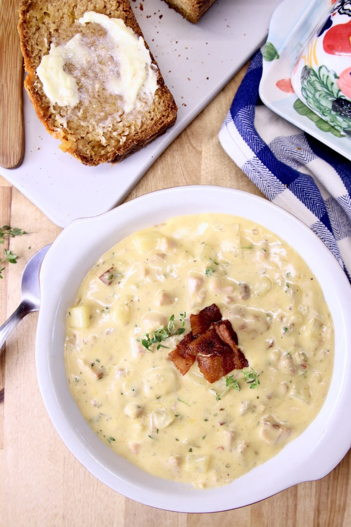ham and cheese soup topped with bacon