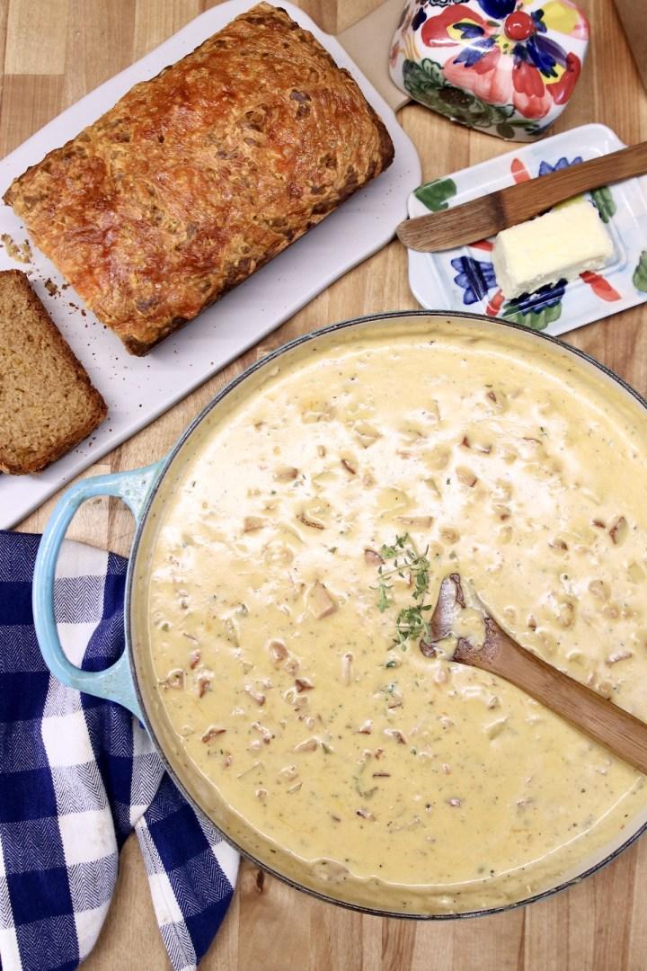 Creamy Ham Cheddar Soup & Beer Bread