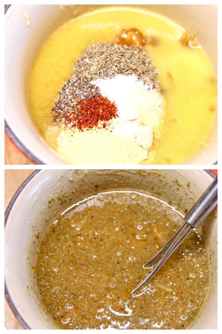 orange marmalade sauce collage: ingredients in pan/cooked