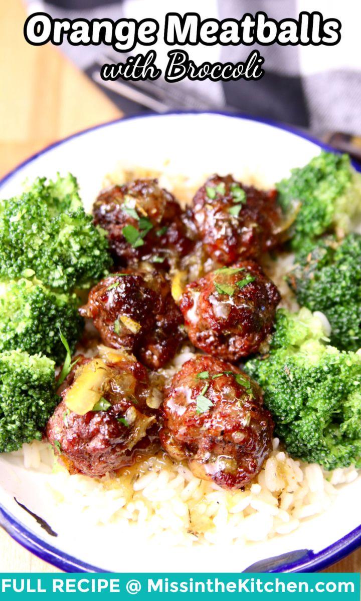 orange meatballs with broccoli over rice