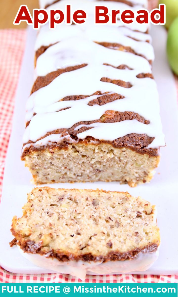 apple bread loaf, sliced with text overlay