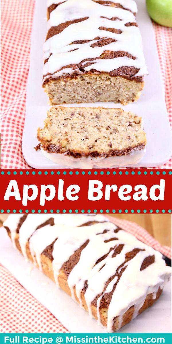apple bread collage: on serving board, sliced/unsliced loaf
