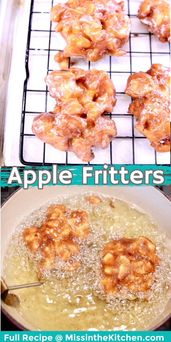 collage of apple fritters: glazed on a wire rack/frying in a pan