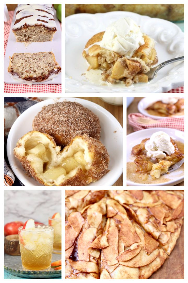 collage of apple desserts and drinks