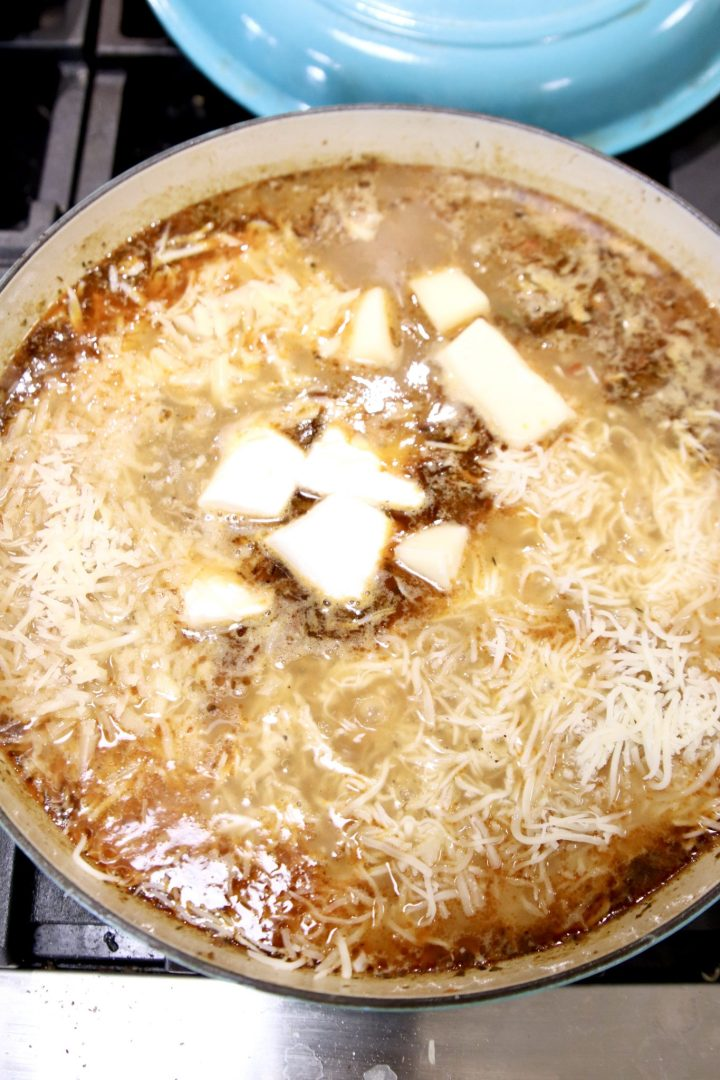 adding 5 kinds of cheese to broth
