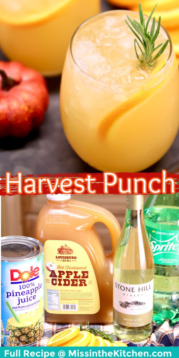 Harvest Punch Cocktail collage: in a wine glass/ingredients