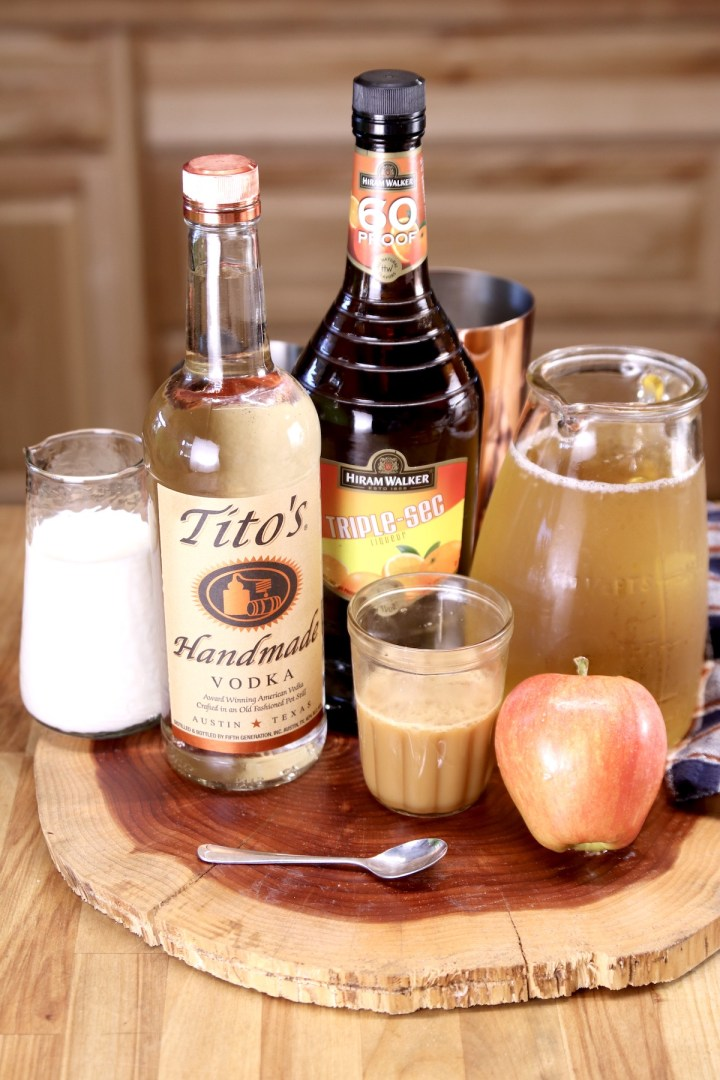 ingredients for caramel apple martini with Titos vodka