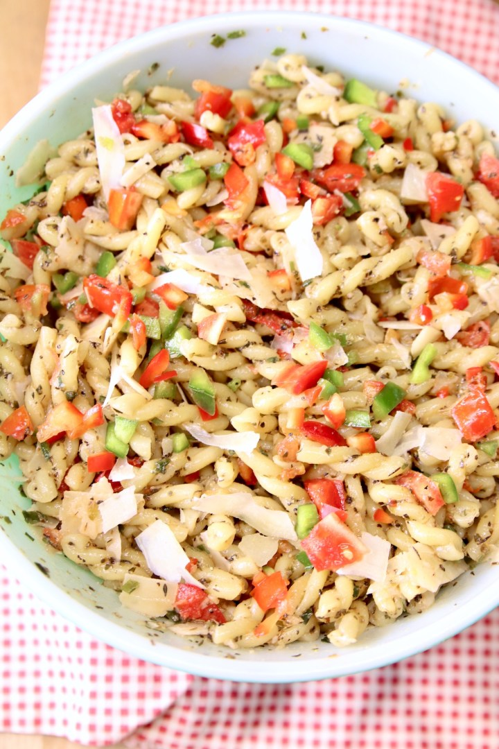 Bowl of Italian Pasta Salad with tomatoes and bell peppers