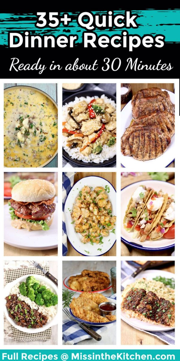 quick dinner recipes collage - text overlay