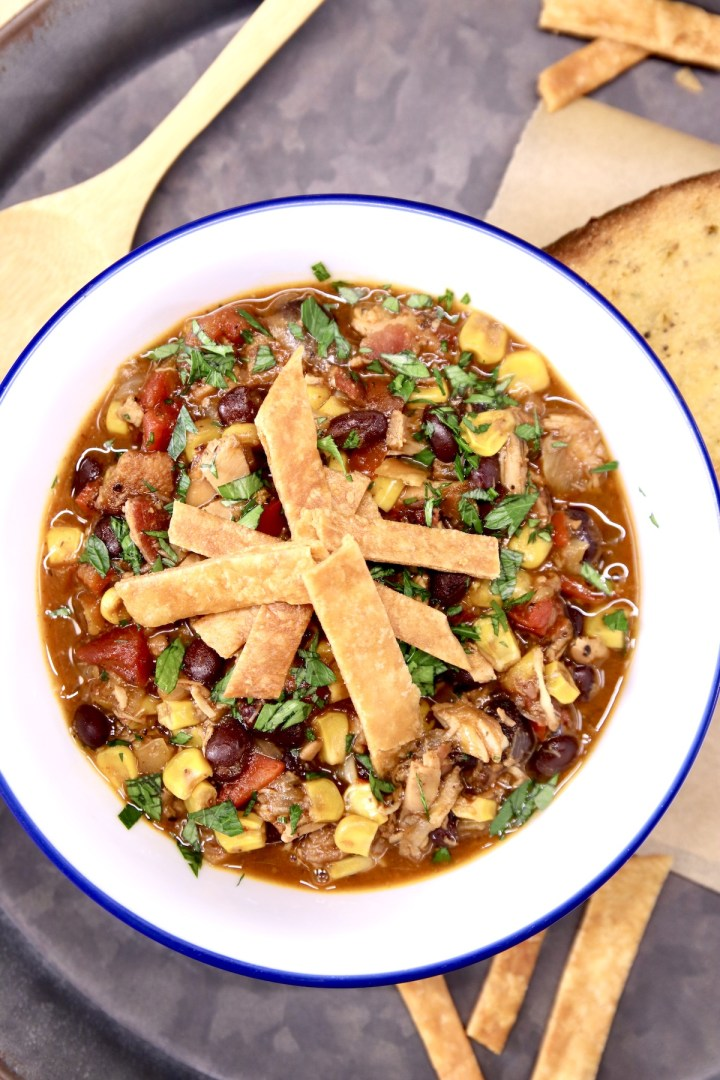 bowl of tortilla soup on a tray