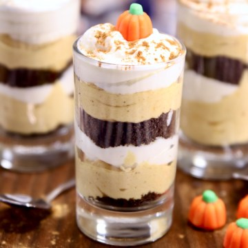 No Bake Pumpkin Cheesecake in individual dessert glasses
