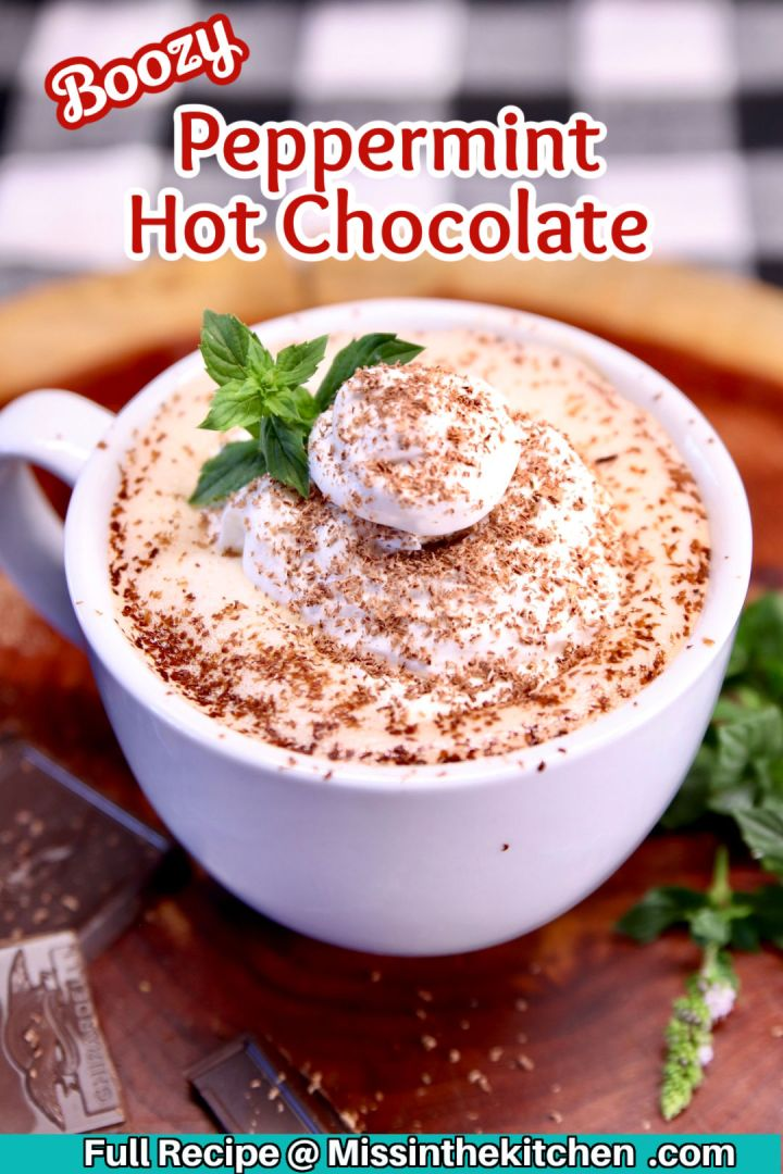 boozy peppermint hot chocolate in a mug with whipped cream, shaved chocolate and a mint sprig