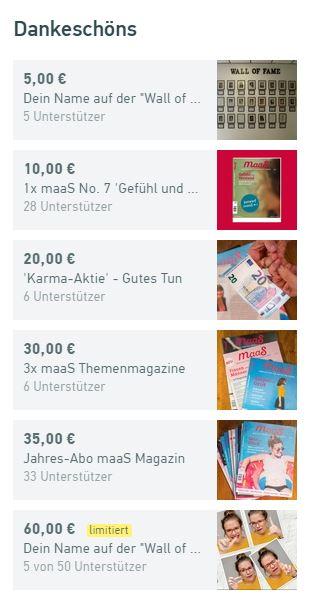 Dankeschöns Crowdfunding Startnext Anita Maas