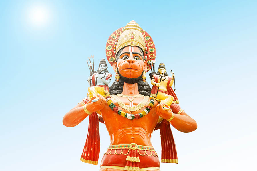 lord hanuman with lord rama and lakshman on his shoulders