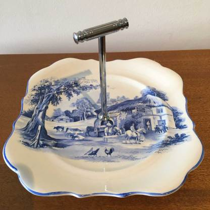 Blue and white sandwich plate.  chrome handle