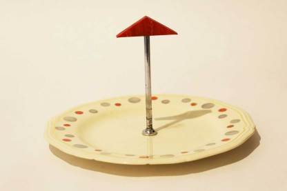 Pretty Woods Ivory Ware cake stand with red triangle handle and dots