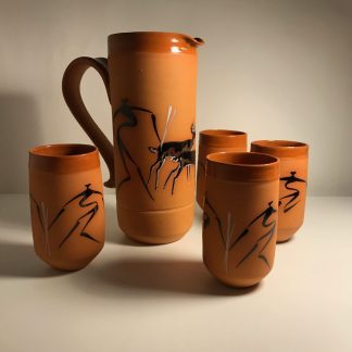 j0004 terracotta pitcher and drinking vessels b
