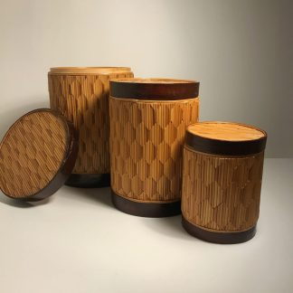 3 x bamboo canisters which fit inside each other J0161 b