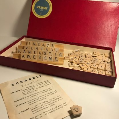 vintage scrabble board with timber tiles j0174a