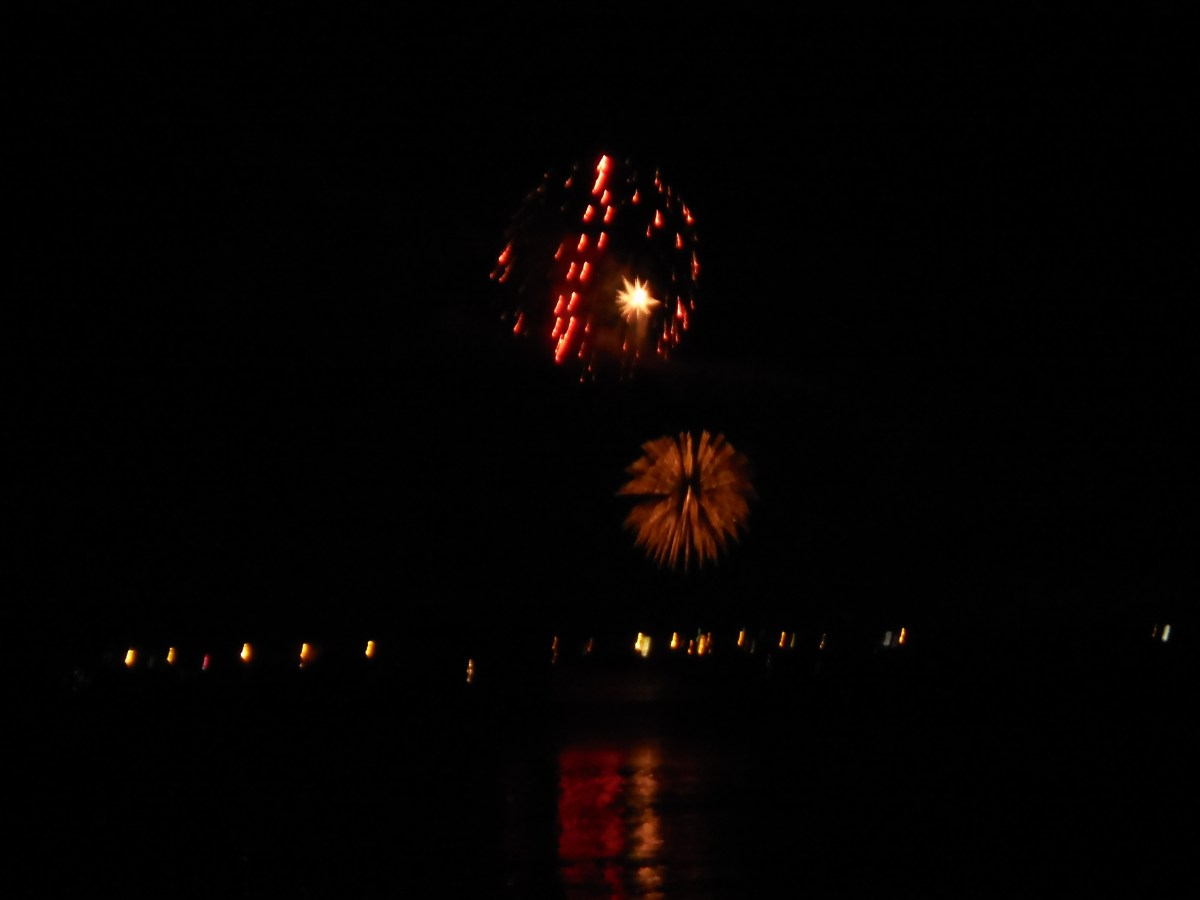 fireworks over the bay in Ashland Wisconsin