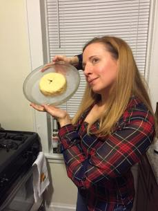 Co-founder and party host Meredith Packer shows off her beautiful cheese wheel.