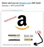 My new female submissive broke her Amazon gift card cherry with this little tribute, which I found rather amusing!