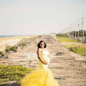mermaid maternity dress, Tulle maternity gown for photoshoot, bandeau top, lace