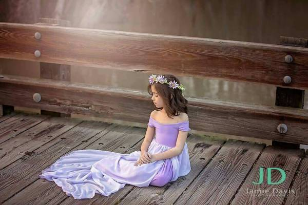 flower girl dress, Maxi style girls dress, off the shoulder short sleeves, jersey kn