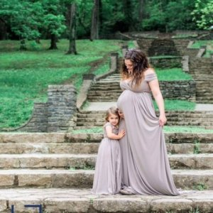 Maxi style maternity dress, off the shoulder short sleeves, sweetheart neckline jersey knit maternity gown