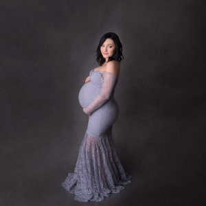 lace dress for maternity shoot, mermaid maternity gown, off ther shoulder long sleeves, mermaid, lace maternity dress