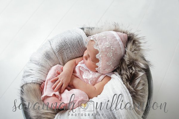Newborn Photo Prop, ivory and lace romper with matching bonnet