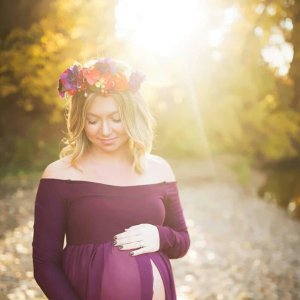 open belly maternity dress, Open belly chiffon maternity gown, off shoulder long sleeves, plum maternity gown