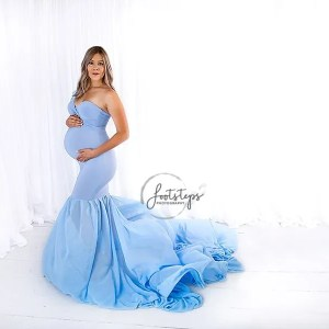 chiffon maternity gown, chiffon mermaid dress, mermaid maternity dress, Maternity gown for photoshoot, maternity dress for photography, baby shower, fitted maternity dress, tossing train, flutter sleeve, one shoulder