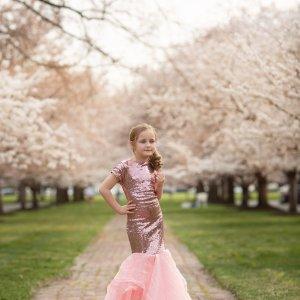 girls sequin gown, girls formal gown, flower girl, junior bridesmaid, birthday, milestone, mommy and me portrait
