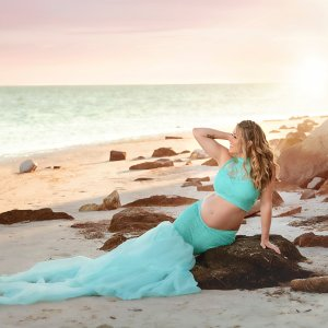 mermaid maternity separate sert, high neck halter, beach maternity shoot, maternity skirt, photography, photoshoot, baby shower
