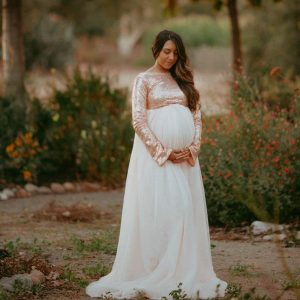 maternity gown photography, maternity dress, photoshoot, baby shower dress, long sleeves, sequin, mesh skirt