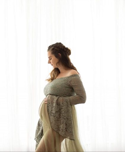 tulle mesh maternity gown