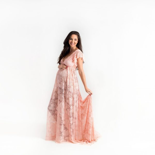 dolman sleeve maternity gown, boho maternity dress, ruffled neckline, Flounce Maternity Dress, maternity dresses for photoshoot, maternity dresses for photography, baby shower dresses, maternity gown, ruffle