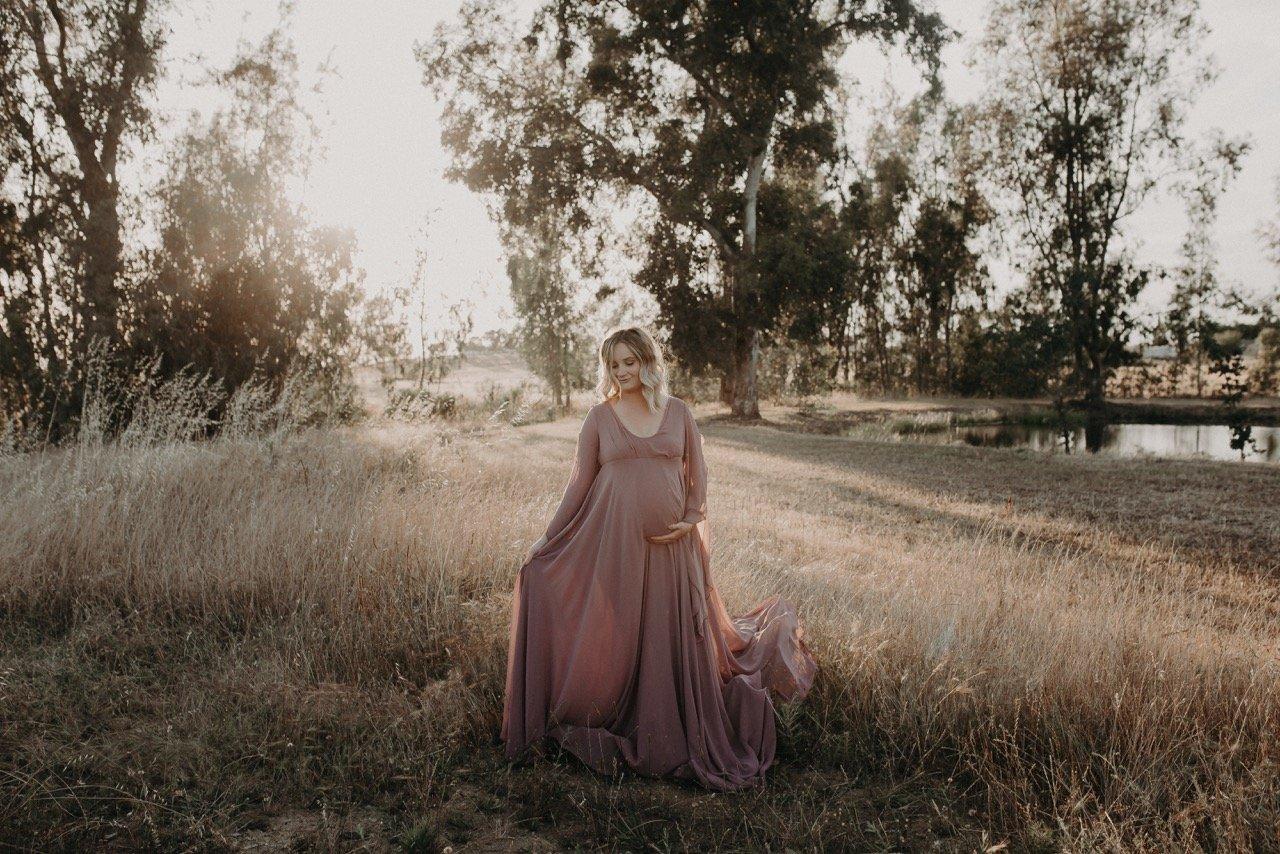 maternity gown, maternity dress, pregnancy, photoshoot, photography, baby shower dress, boho, sleeves, flowy