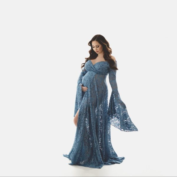 boho maternity dress, ruffled neckline, Flounce Maternity Dress, maternity dresses for photoshoot, maternity dresses for photography, baby shower dresses, maternity gown, fitted, jersey, ruffle