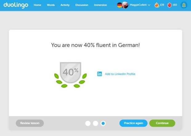 Duolingo helps when learning a second language