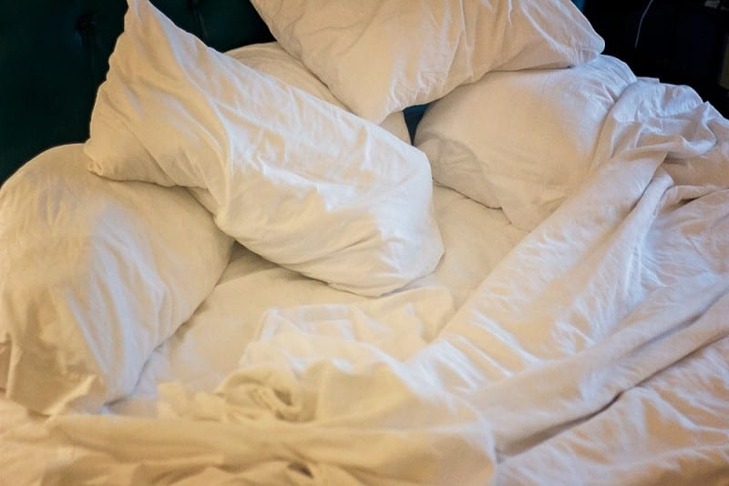unmade bed for morning routines