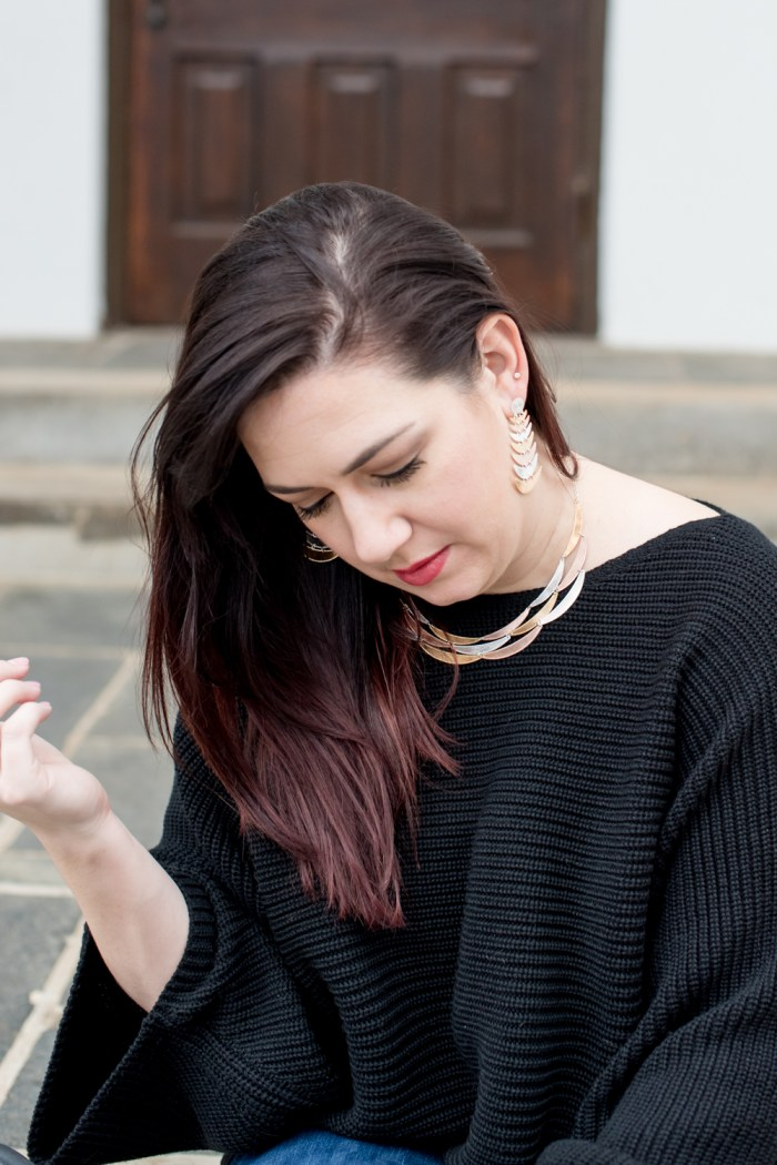 A Basic Sweater and Statement Jewelry
