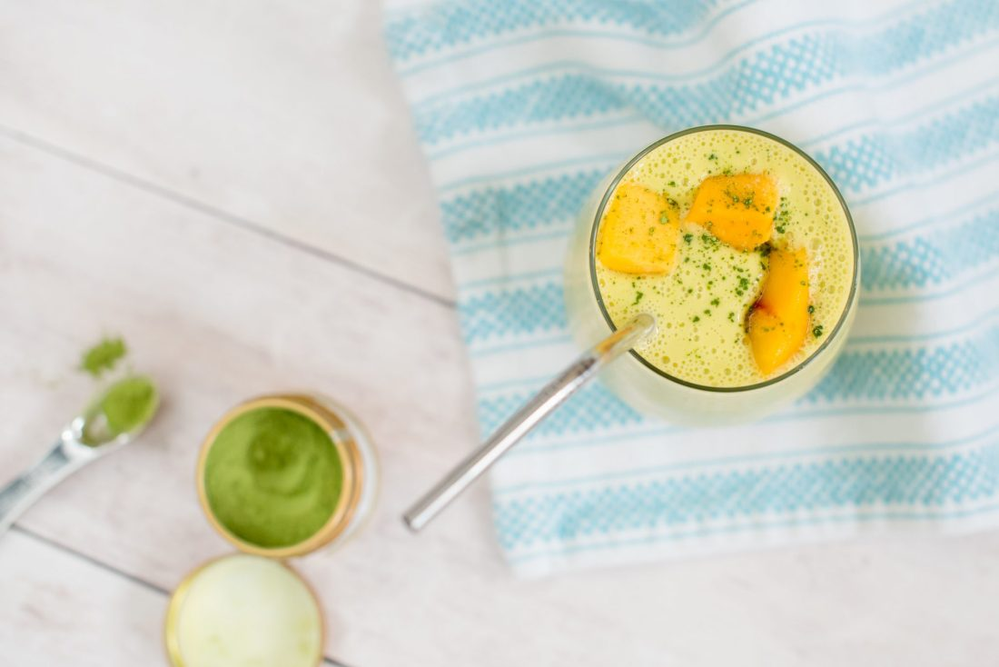 Mango-Peach & Matcha Smoothie Recipe // Miss Molly Moon   A Refreshing Mango-Peach & Matcha Smoothie Recipe featured by top Atlanta foodie blogger, Miss Molly Moon