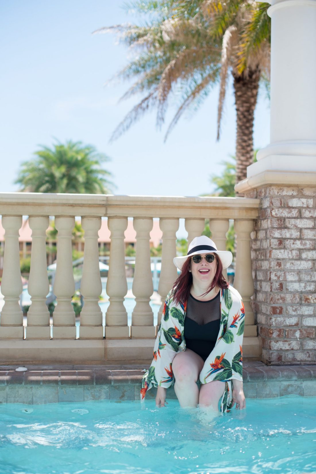 Finding Body Confidence at 30 // Miss Molly Moon  | How to find body confidence at 30, featured by top Atlanta life and style blogger, Miss Molly Moon: image of a woman wearing a Vera Bradley swimsuit, target Panama hat, ASOS floral kimono