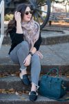 Cozy & Casual Winter Style + Leopard is a Neutral // Miss Molly Moon   Cozy off the shoulder sweater styled by top US fashion blogger, Miss Molly Moon: image of a woman wearing an H&M off the shoulder sweater, Target blanket scarf, Express high waisted ankle denim leggings, Fossil bag and Target faux leather fur mules
