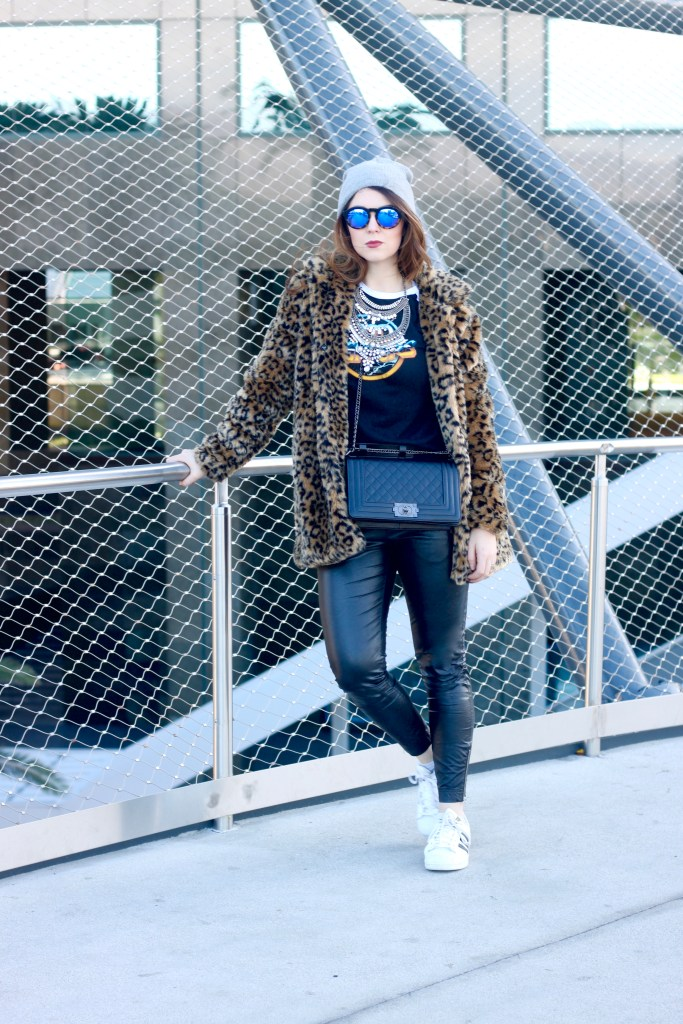 leopard print coat with leather leggings