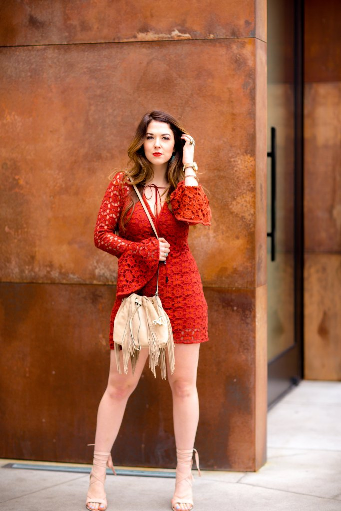 suede fringe purse red lace dress