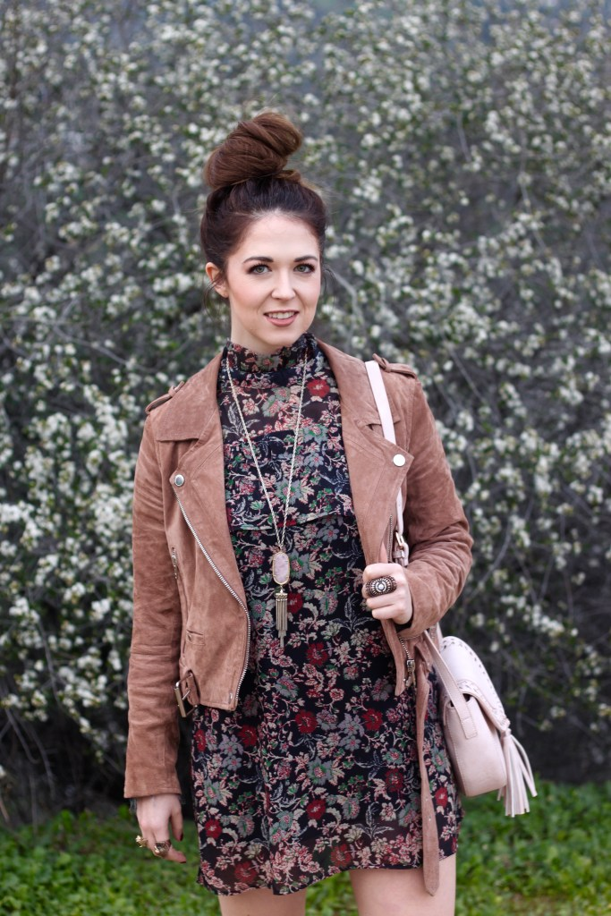 Floral mini dress with suede jacket