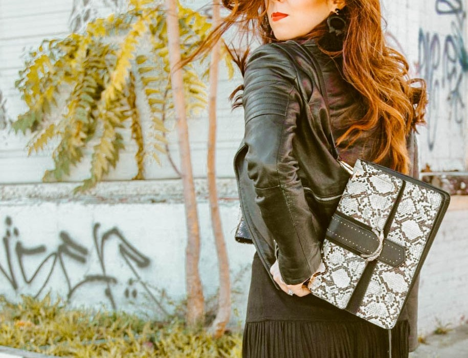 Snakeskin purse outfit